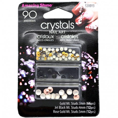 Amazing shine - Strass Décoration Ongles Gold/Black/Rose- 90 pièces