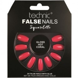 technic - Faux ongles Squareletto - Gloss Hot Coral